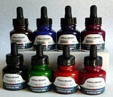 William Mitchell Acrylic Calligraphy Ink Set of 8 1