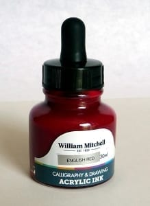 William Mitchell English Red Acrylic Calligraphy Ink 30ml 1